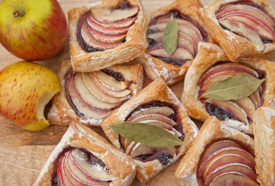 danish pastries: apple, blackberry and bay pastry with maple glaze